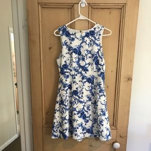 White and blue floral fit and flare dress medium